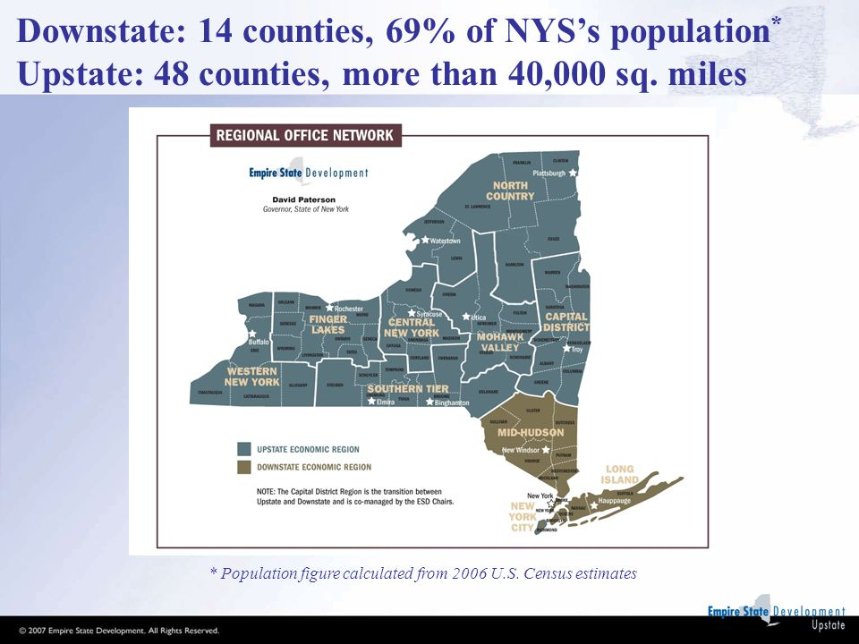 Downstate: 14 counties, 69% of NYS's population * Upstate: 48 counties, more than 40,000 sq.