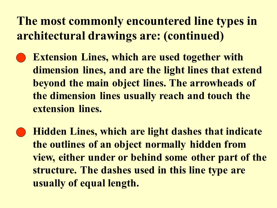 Extension Lines, which are used together with dimension lines, and are the light lines that extend beyond the main object lines. The arrowheads of the