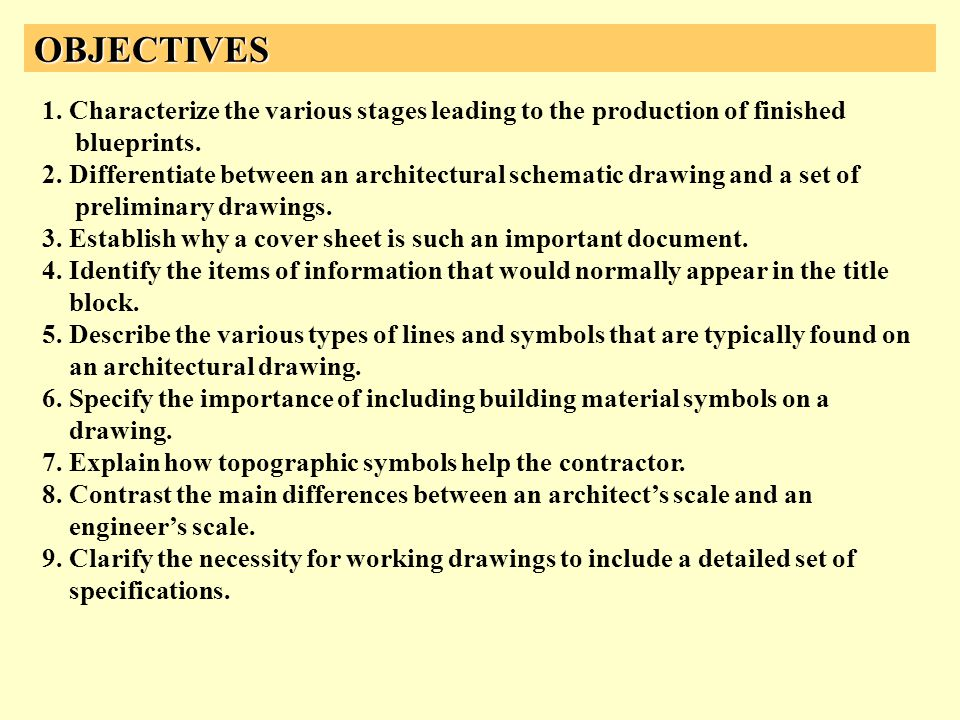 OBJECTIVES 1. Characterize the various stages leading to the production of finished blueprints. 2. Differentiate between an architectural schematic dr
