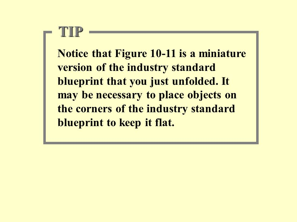 Notice that Figure 10-11 is a miniature version of the industry standard blueprint that you just unfolded. It may be necessary to place objects on the