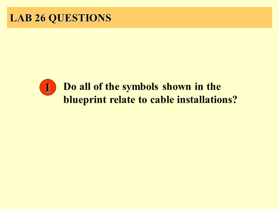 LAB 26 QUESTIONS Do all of the symbols shown in the blueprint relate to cable installations? 1
