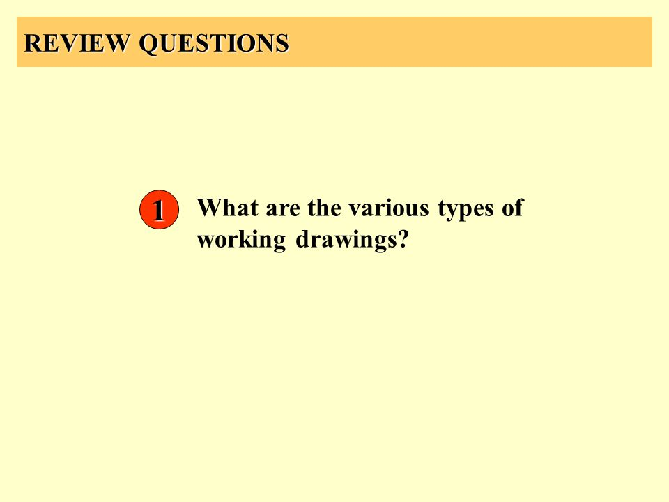REVIEW QUESTIONS What are the various types of working drawings? 1