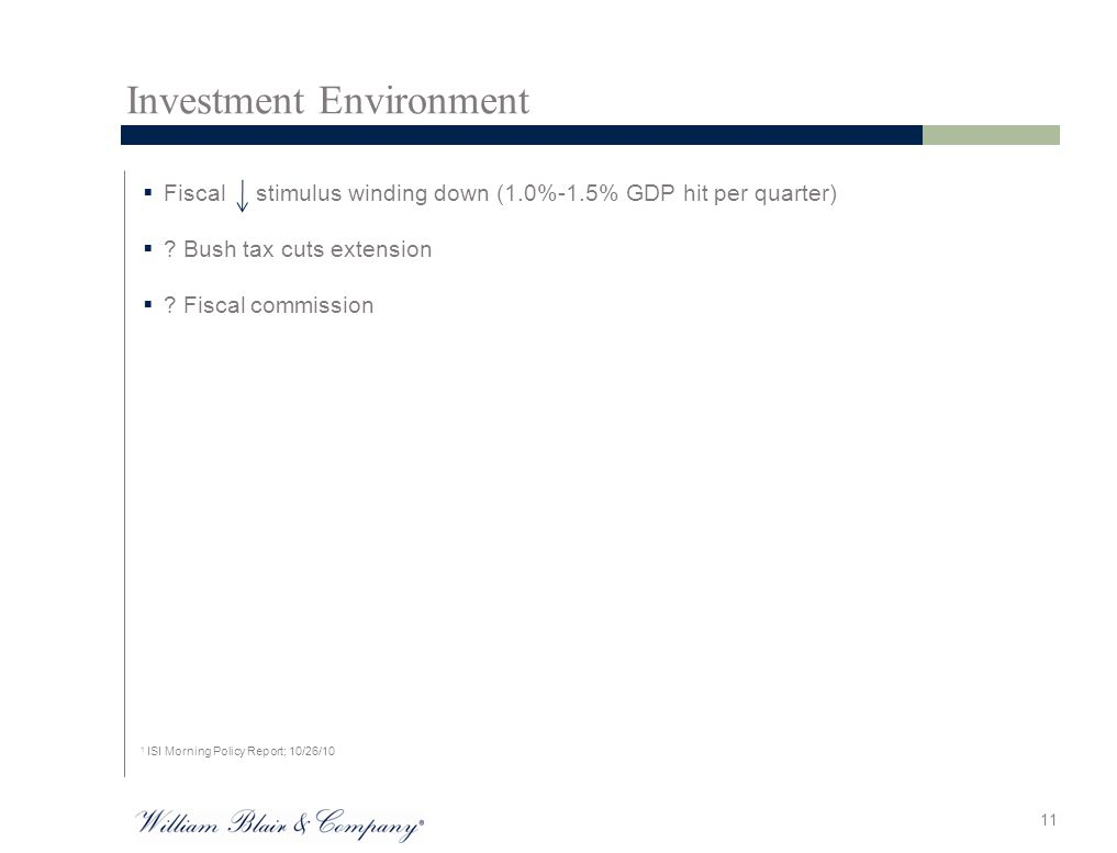 Investment Environment  Fiscal stimulus winding down (1.0%-1.5% GDP hit per quarter)  .