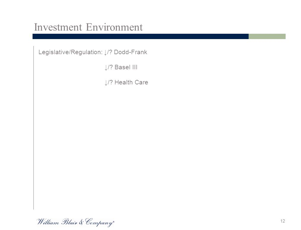 Investment Environment Legislative/Regulation: ↓/ Dodd-Frank ↓/ Basel III ↓/ Health Care 12