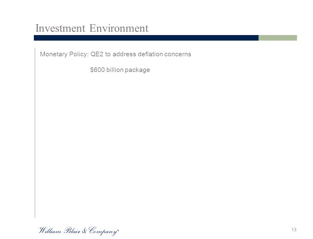 Investment Environment Monetary Policy: QE2 to address deflation concerns $600 billion package 13