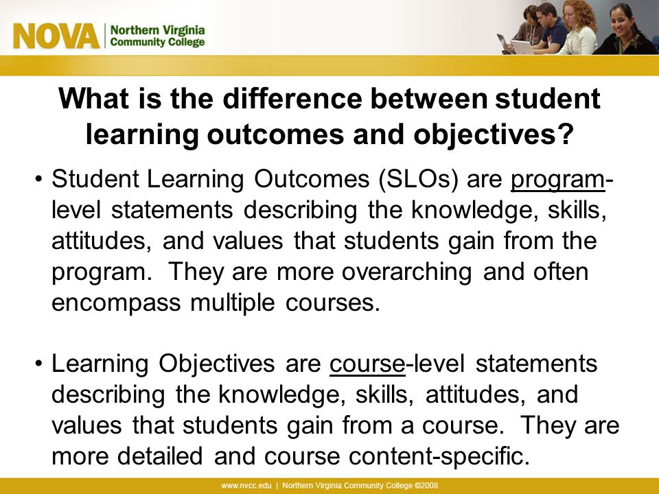 What is the difference between student learning outcomes and objectives? Student Learning Outcomes (SLOs) are program- level statements describing the