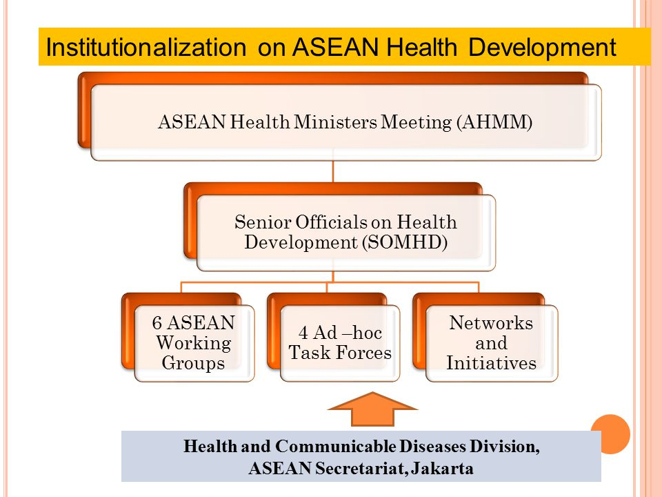 ASEAN Health Ministers Meeting (AHMM) Senior Officials on Health Development (SOMHD) 6 ASEAN Working Groups 4 Ad –hoc Task Forces Networks and Initiatives Institutionalization on ASEAN Health Development Health and Communicable Diseases Division, ASEAN Secretariat, Jakarta