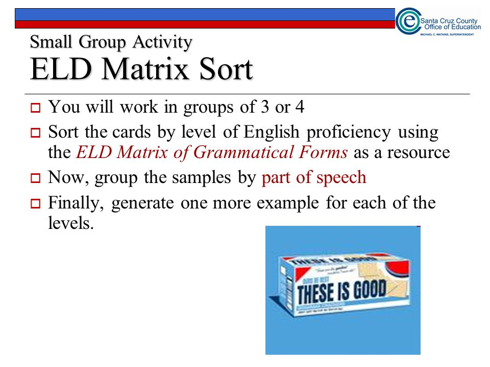23 Small Group Activity ELD Matrix Sort  You will work in groups of 3 or 4  Sort the cards by level of English proficiency using the ELD Matrix of Grammatical Forms as a resource  Now, group the samples by part of speech  Finally, generate one more example for each of the levels.