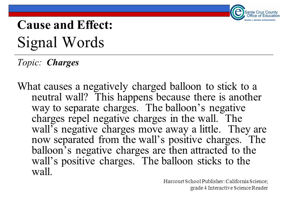 Cause and Effect: Signal Words Topic: Charges What causes a negatively charged balloon to stick to a neutral wall.