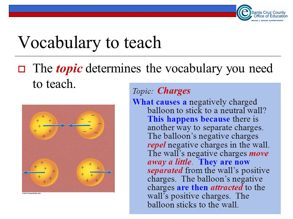 Vocabulary to teach  The topic determines the vocabulary you need to teach.