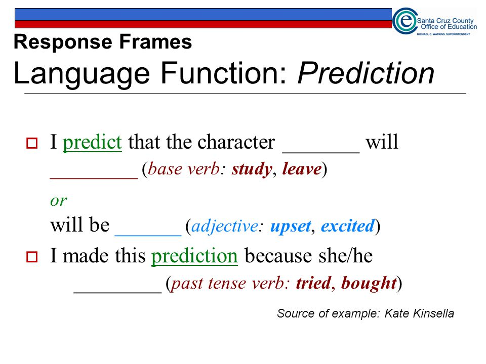 Response Frames Language Function: Prediction  I predict that the character _______ will ________ (base verb: study, leave) or will be ______ (adjective: upset, excited)  I made this prediction because she/he ________ (past tense verb: tried, bought) Source of example: Kate Kinsella