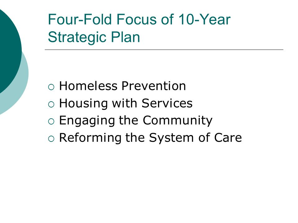 Four-Fold Focus of 10-Year Strategic Plan  Homeless Prevention  Housing with Services  Engaging the Community  Reforming the System of Care