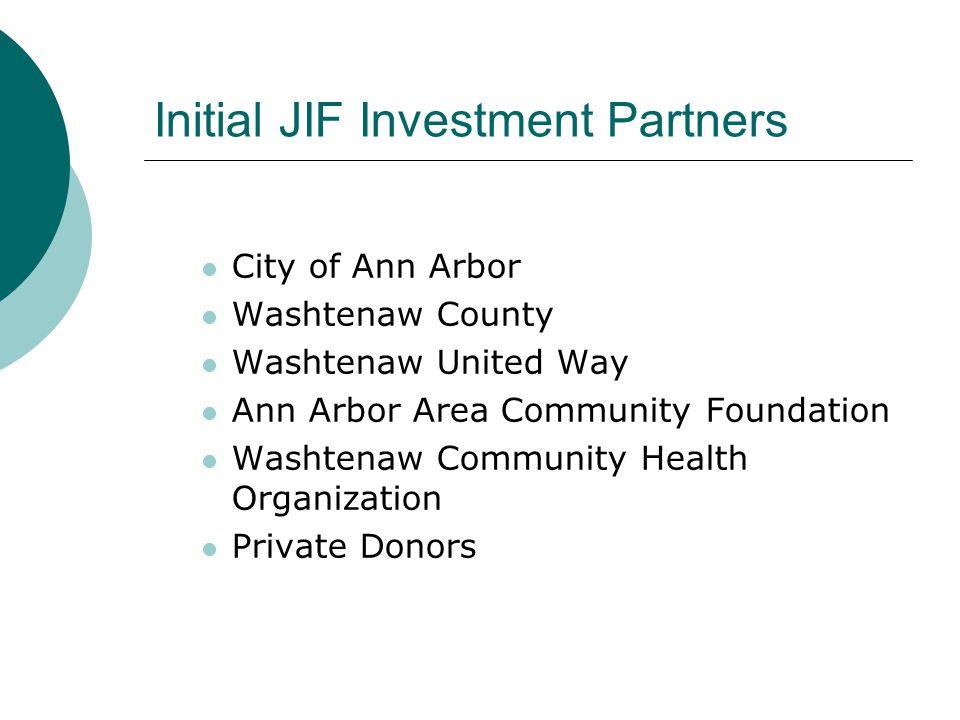 Initial JIF Investment Partners City of Ann Arbor Washtenaw County Washtenaw United Way Ann Arbor Area Community Foundation Washtenaw Community Health