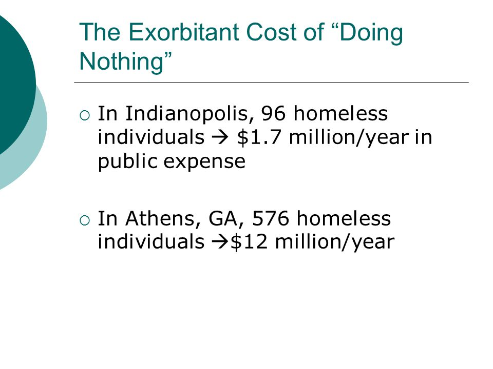 The Exorbitant Cost of Doing Nothing  In Indianopolis, 96 homeless individuals  $1.7 million/year in public expense  In Athens, GA, 576 homeless individuals  $12 million/year