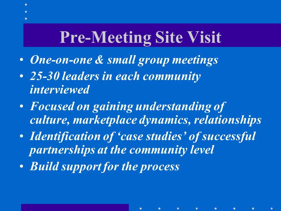 Pre-Meeting Site Visit One-on-one & small group meetings 25-30 leaders in each community interviewed Focused on gaining understanding of culture, mark
