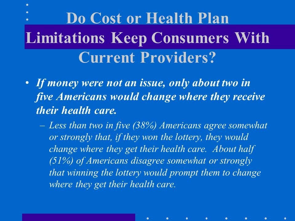 Do Cost or Health Plan Limitations Keep Consumers With Current Providers? If money were not an issue, only about two in five Americans would change wh