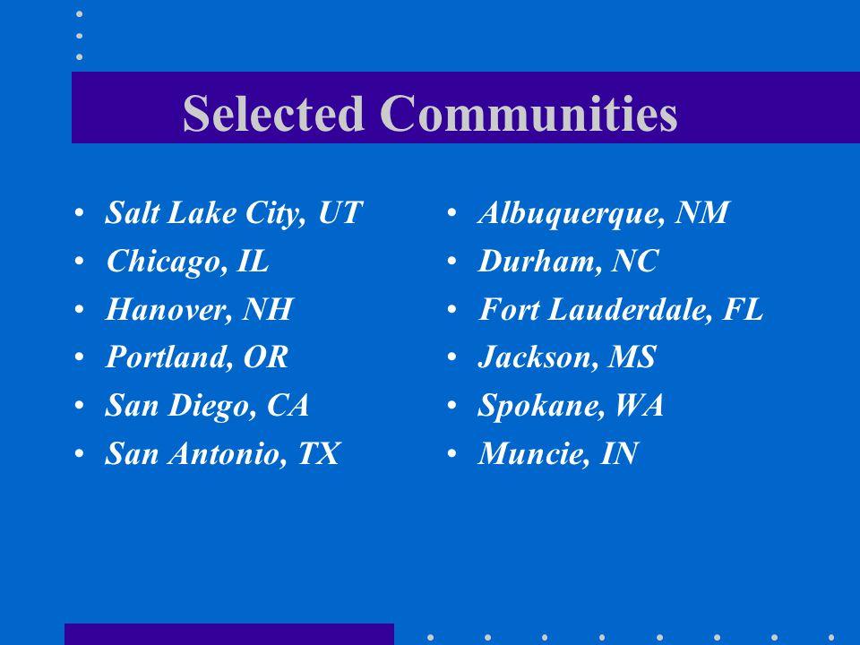 Selected Communities Salt Lake City, UT Chicago, IL Hanover, NH Portland, OR San Diego, CA San Antonio, TX Albuquerque, NM Durham, NC Fort Lauderdale,