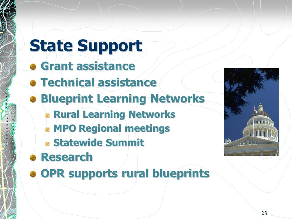 28 State Support Grant assistance Technical assistance Blueprint Learning Networks Rural Learning Networks MPO Regional meetings Statewide Summit Research OPR supports rural blueprints