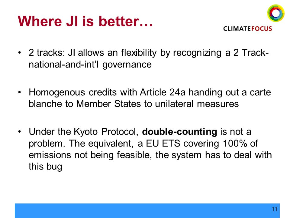 11 Where JI is better… 2 tracks: JI allows an flexibility by recognizing a 2 Track- national-and-int'l governance Homogenous credits with Article 24a