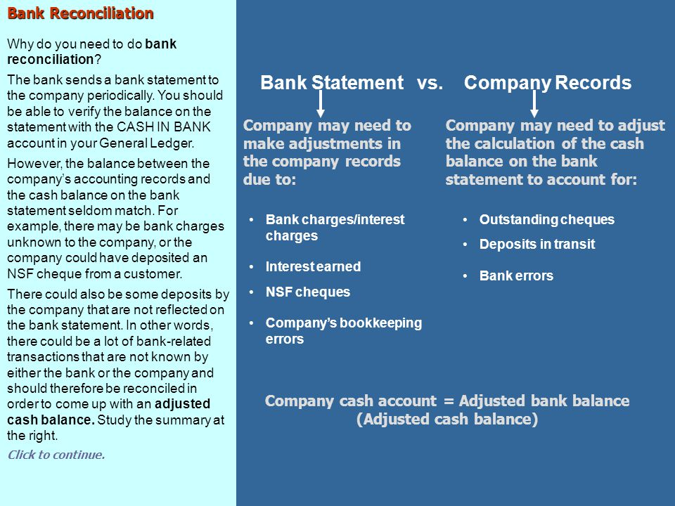 Account Reconciliation Reports General Ledger Report – CASH IN BANK (continued) The General Ledger report shows that when you completed the account reconciliation, 1060 CASH IN BANK is equal to the Adjusted Cash Balance in the manual Bank Reconciliation.