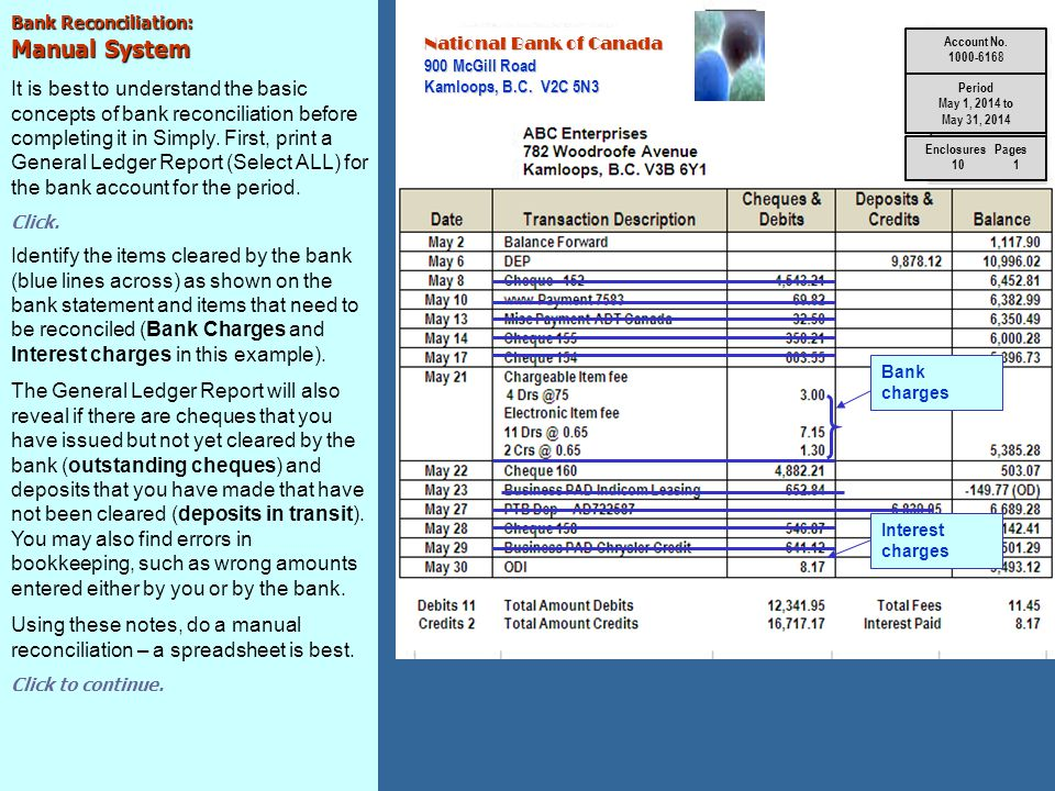 Bank Reconciliation: Blueprint Using the notes that you have made after comparing your G/L BANK account entries with your bank statement, you are ready to do a manual bank reconciliation.