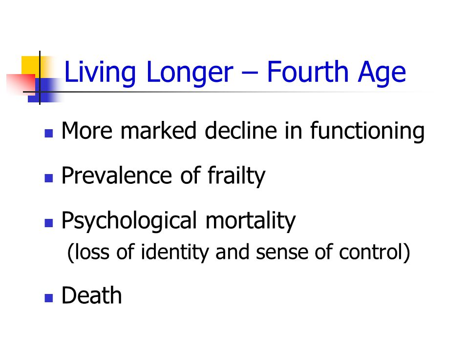 Living Longer – Fourth Age More marked decline in functioning Prevalence of frailty Psychological mortality (loss of identity and sense of control) Death