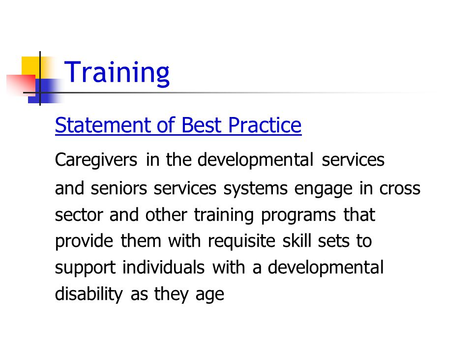 Training Statement of Best Practice Caregivers in the developmental services and seniors services systems engage in cross sector and other training programs that provide them with requisite skill sets to support individuals with a developmental disability as they age