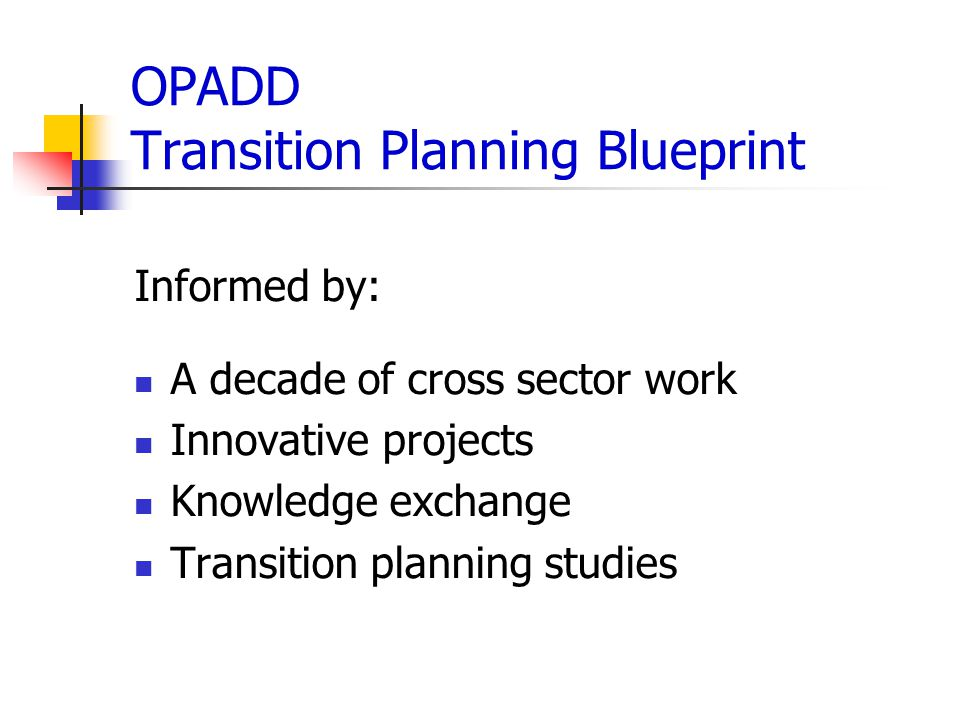 OPADD Transition Planning Blueprint Informed by: A decade of cross sector work Innovative projects Knowledge exchange Transition planning studies