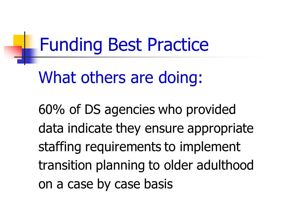 Funding Best Practice What others are doing: 60% of DS agencies who provided data indicate they ensure appropriate staffing requirements to implement transition planning to older adulthood on a case by case basis