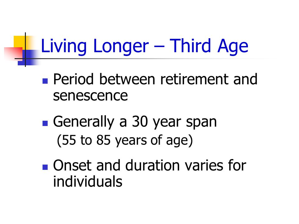 Living Longer – Third Age Period between retirement and senescence Generally a 30 year span (55 to 85 years of age) Onset and duration varies for individuals