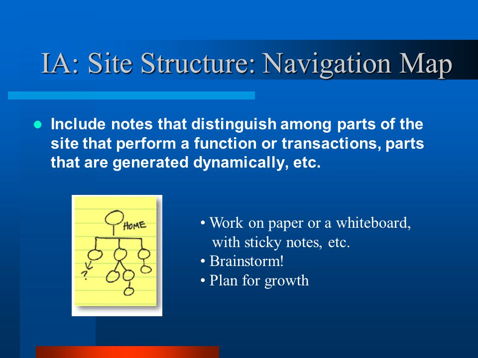 IA: Site Structure: Navigation Map Include notes that distinguish among parts of the site that perform a function or transactions, parts that are gene