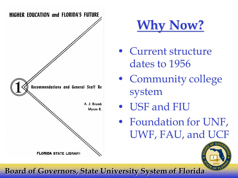 Why Now? Current structure dates to 1956 Community college system USF and FIU Foundation for UNF, UWF, FAU, and UCF Board of Governors, State Universi