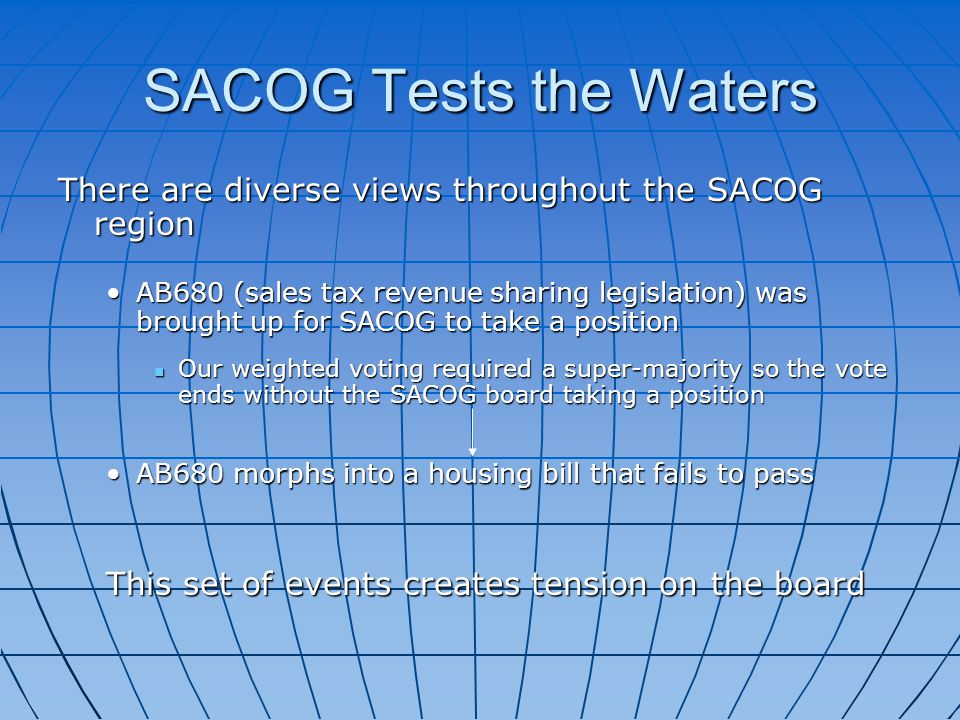 SACOG Tests the Waters There are diverse views throughout the SACOG region AB680 (sales tax revenue sharing legislation) was brought up for SACOG to take a positionAB680 (sales tax revenue sharing legislation) was brought up for SACOG to take a position Our weighted voting required a super-majority so the vote ends without the SACOG board taking a position Our weighted voting required a super-majority so the vote ends without the SACOG board taking a position AB680 morphs into a housing bill that fails to passAB680 morphs into a housing bill that fails to pass This set of events creates tension on the board