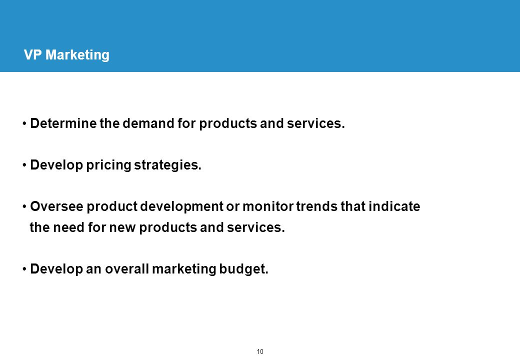 10 VP Marketing Determine the demand for products and services.