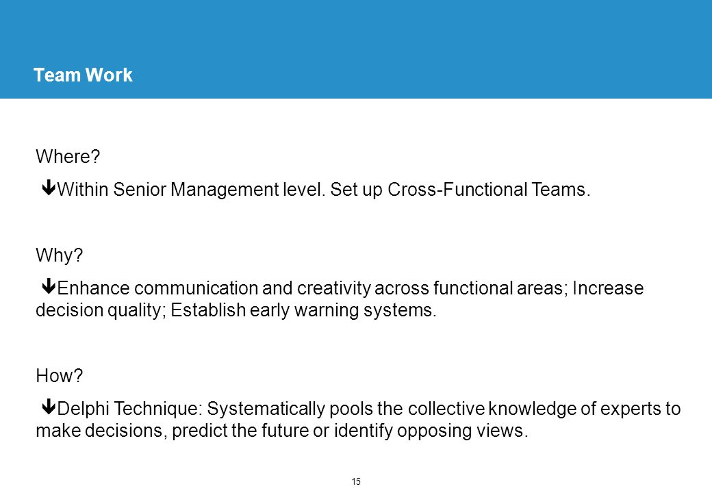15 Team Work Where. Within Senior Management level.