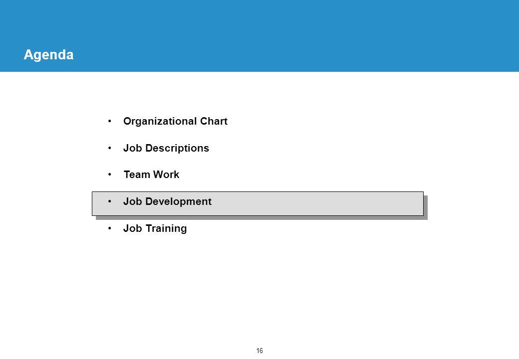 16 Agenda Organizational Chart Job Descriptions Team Work Job Development Job Training