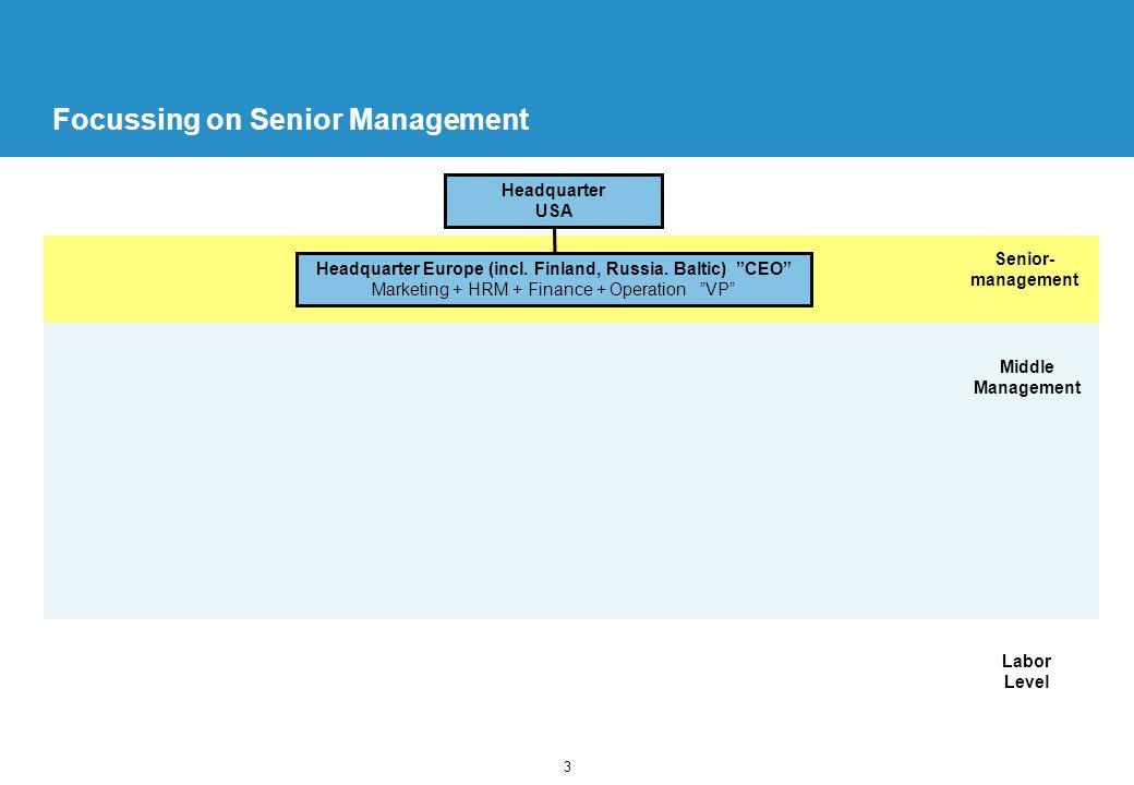 3 Focussing on Senior Management Headquarter USA Senior- management Headquarter Europe (incl.