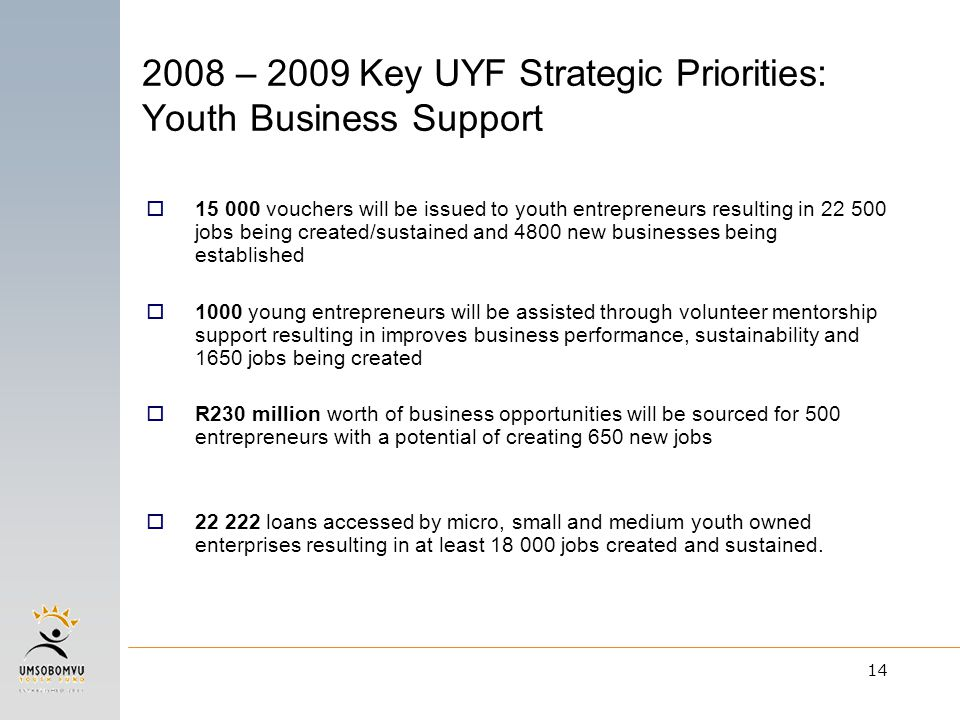 14 2008 – 2009 Key UYF Strategic Priorities: Youth Business Support  15 000 vouchers will be issued to youth entrepreneurs resulting in 22 500 jobs being created/sustained and 4800 new businesses being established  1000 young entrepreneurs will be assisted through volunteer mentorship support resulting in improves business performance, sustainability and 1650 jobs being created  R230 million worth of business opportunities will be sourced for 500 entrepreneurs with a potential of creating 650 new jobs  22 222 loans accessed by micro, small and medium youth owned enterprises resulting in at least 18 000 jobs created and sustained.