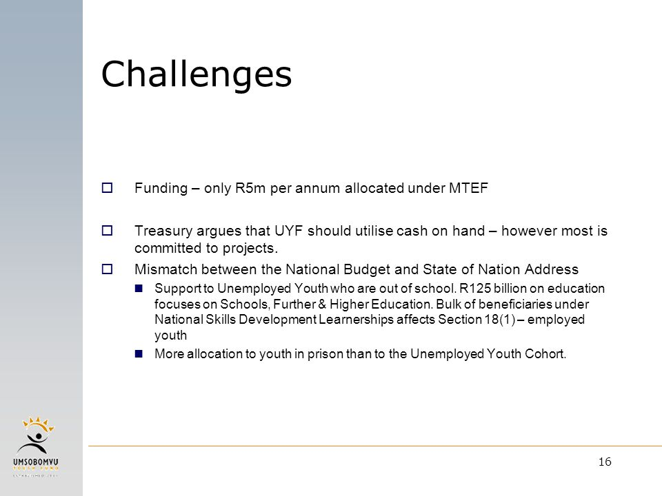 16  Funding – only R5m per annum allocated under MTEF  Treasury argues that UYF should utilise cash on hand – however most is committed to projects.