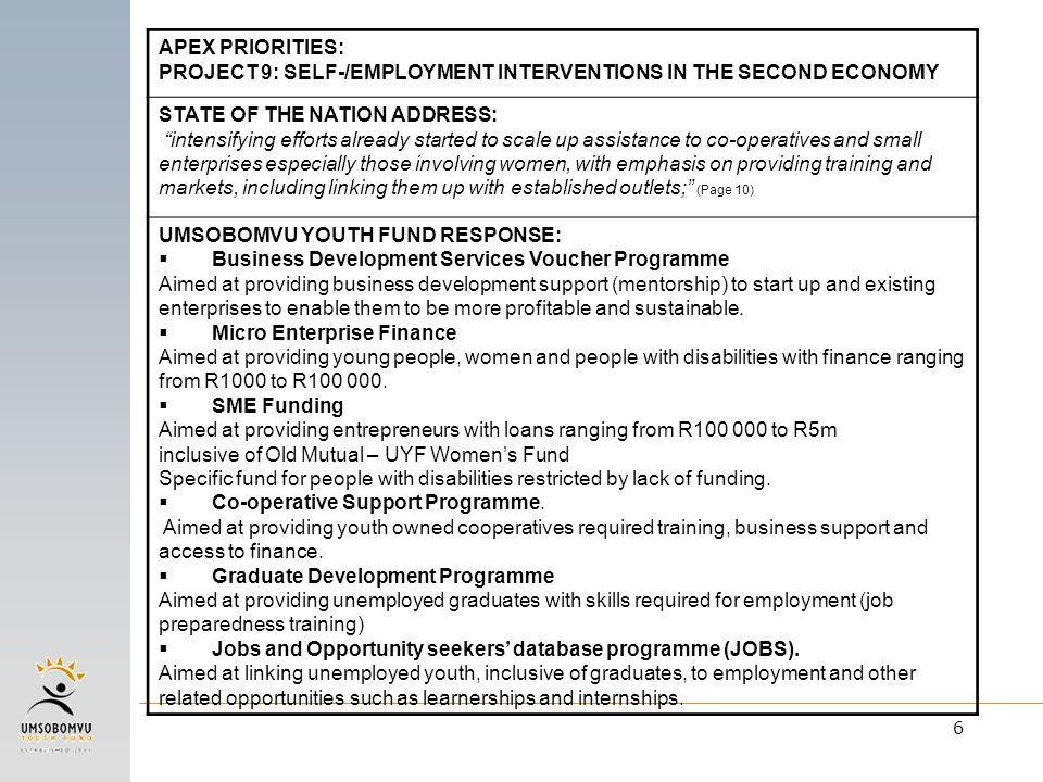 "6 APEX PRIORITIES: PROJECT 9: SELF-/EMPLOYMENT INTERVENTIONS IN THE SECOND ECONOMY STATE OF THE NATION ADDRESS: ""intensifying efforts already started"