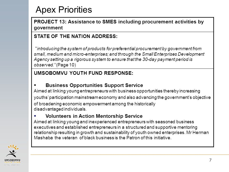 "7 PROJECT 13: Assistance to SMES including procurement activities by government STATE OF THE NATION ADDRESS: "" introducing the system of products for"