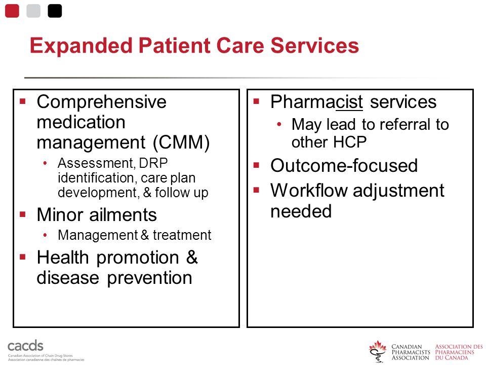 Expanded Patient Care Services  Comprehensive medication management (CMM) Assessment, DRP identification, care plan development, & follow up  Minor