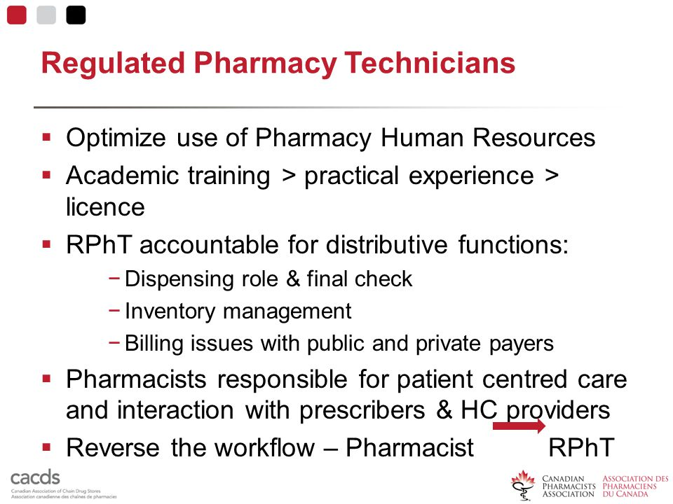 Regulated Pharmacy Technicians  Optimize use of Pharmacy Human Resources  Academic training > practical experience > licence  RPhT accountable for