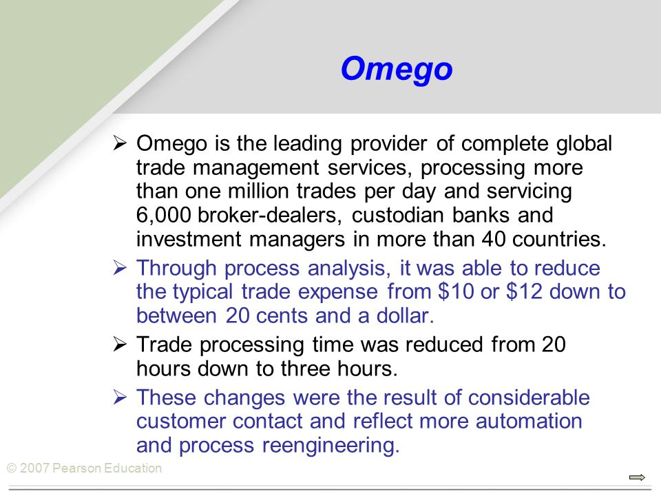 © 2007 Pearson Education Omego  Omego is the leading provider of complete global trade management services, processing more than one million trades p
