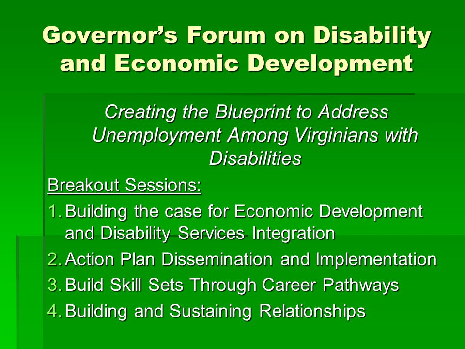 Governor's Forum on Disability and Economic Development Creating the Blueprint to Address Unemployment Among Virginians with Disabilities Breakout Sessions: 1.Building the case for Economic Development and Disability Services Integration 2.Action Plan Dissemination and Implementation 3.Build Skill Sets Through Career Pathways 4.Building and Sustaining Relationships