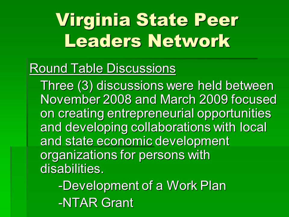 Virginia State Peer Leaders Network Round Table Discussions Three (3) discussions were held between November 2008 and March 2009 focused on creating entrepreneurial opportunities and developing collaborations with local and state economic development organizations for persons with disabilities.