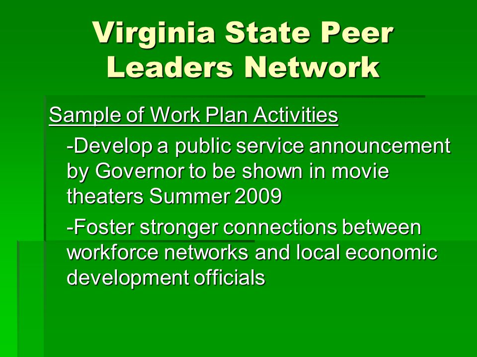 Virginia State Peer Leaders Network Sample of Work Plan Activities -Develop a public service announcement by Governor to be shown in movie theaters Summer 2009 -Foster stronger connections between workforce networks and local economic development officials