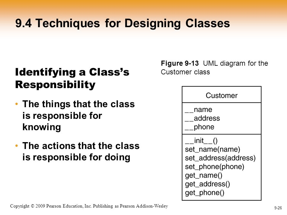 1-26 Copyright © 2009 Pearson Education, Inc. Publishing as Pearson Addison-Wesley 9-26 9.4 Techniques for Designing Classes Identifying a Class's Res