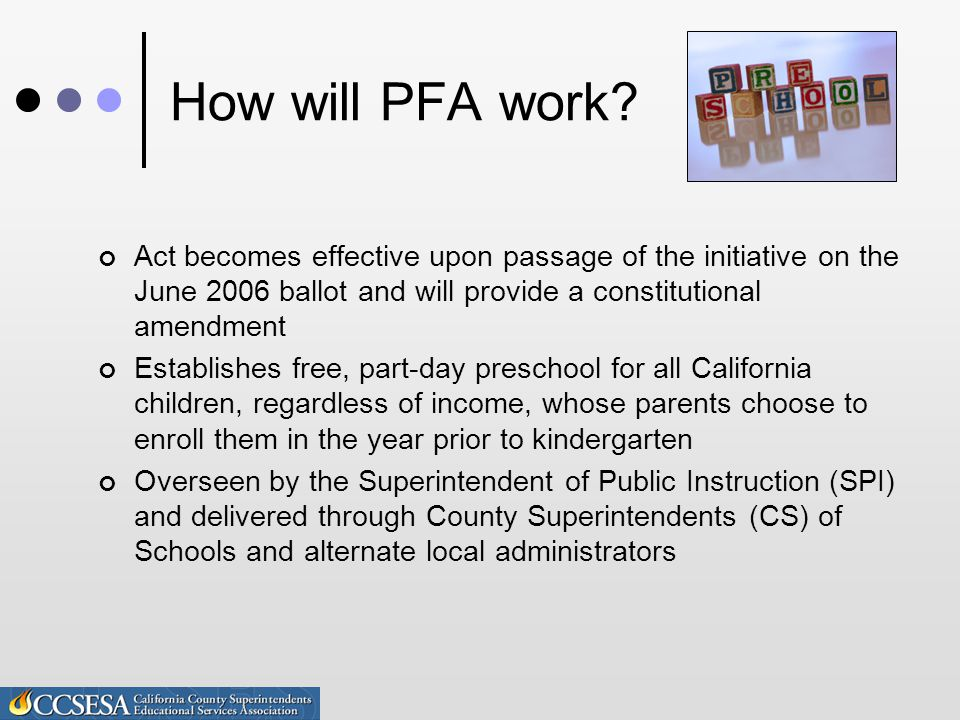 How will PFA work.