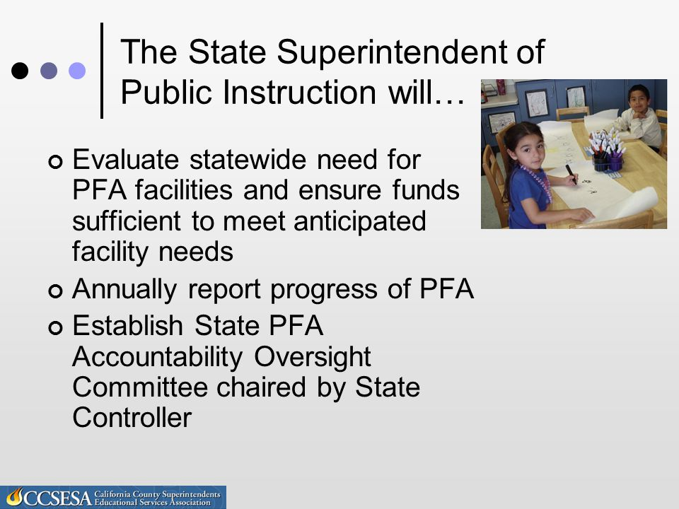 The State Superintendent of Public Instruction will… Evaluate statewide need for PFA facilities and ensure funds sufficient to meet anticipated facility needs Annually report progress of PFA Establish State PFA Accountability Oversight Committee chaired by State Controller